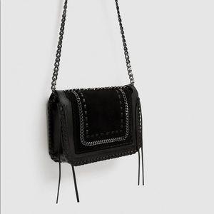 Zara black crossbody bag with chain